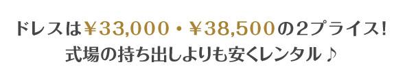 ドレスは¥30,000・¥35,000の2プライス!式場の持ち出しよりも安くレンタル♪